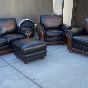 Living Room Set ! Sofa Loveseat Chair And Ottoman ! Top Grain Leather ! Free Delivery ! Couches ! for Sale in Berkeley, CA