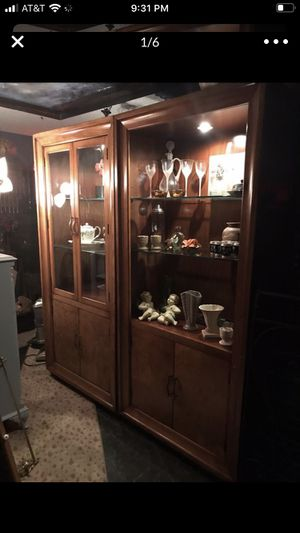 Pair of high end solid mahogany beautiful cabinets We also have delivery service is a very expensive pieces for Sale in San Diego, CA