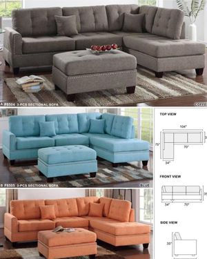 $699 BRAND New in the box 3 Piece Blue Cofee Sofa/ $149 Ottoman sold separate Available for pickup Also delivery available (charge depending on for Sale in Chino, CA