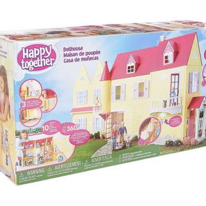 Doll house for girls (happy together) + furniture + dolls for Sale in Addison, IL