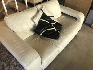 White Leather Couches - Sofa and Loveseat (Need gone!) for Sale in San Diego, CA