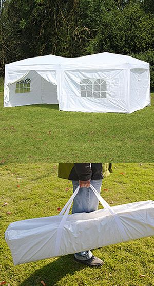 (NEW) $170 Easy Popup 10x20 ft EZ Pop Up Canopy w/ 6 Side Walls, Carrying Bag, White for Sale in Whittier, CA