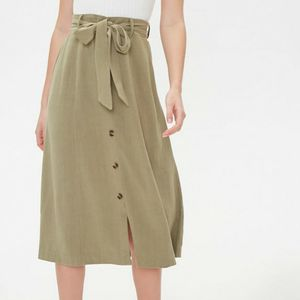 Forever 21 Linen A-Line Midi Skirt Khaki green for Sale in Bothell, WA