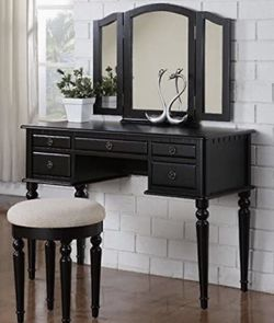 NWB Black Vanity With Stool for Sale in Corona,  CA
