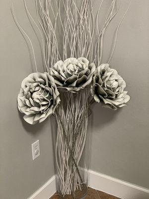 Large floor floor vase with Zgallerie flowers - like new! for Sale in Medley, FL