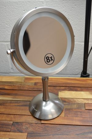 """Ovente 7"""" LED tabletop vanity makeup mirror battery operated 1x/8x nickel brush for Sale in Diamond Bar, CA"""