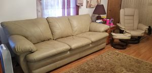 Plush beige leather couch and loveseat! for Sale in Washington, MO