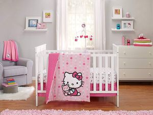 New Hello Kitty Newborn Baby Girl 3 pieces Crib Bedding ser for Sale in Compton, CA