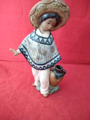 "LLADRO GRES LITTLE MEXICAN BOY WITH JUG FIGURINE 8"" TALL W/ ORIG BOX for Sale in Pompano Beach, FL"