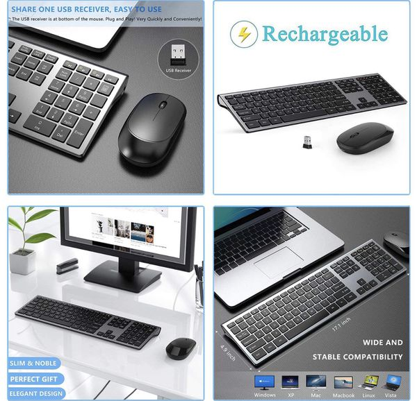 Rechargeable Wireless Keyboard Mouse Combo, Stylish Slim Keyboard and Mice - LEKVEY 2.4G 109 Keys Full-Size Quiet Keyboard Mouse Set for Windows Compu