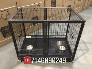 Dog pet cage kennel size 43 with divider and feeding bowls new in box 📦 for Sale in San Dimas, CA