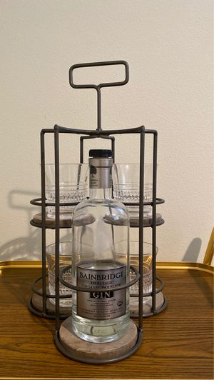 Antique Cocktail Glass & Bottle Holder for Sale in Seattle, WA