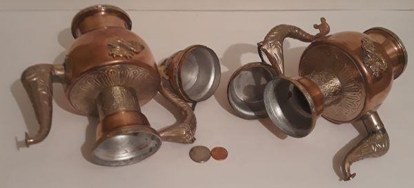 "Vintage Set of 2 Metal Copper, Brass and Silver Tea Pots Set, 10"" Tall, Dragons, Kitchen Decor, Table Decor, Shelf Display"