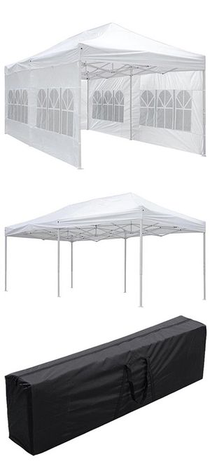 Brand New $200 Heavy-Duty 10x20 Ft Outdoor Ez Pop Up Party Tent Patio Canopy w/Bag & 6 Sidewalls, White for Sale in Montebello, CA