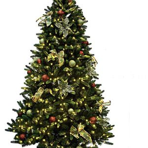 PE/PVC Mixed Pine Artificial Christmas Tree 9 ft Prelit with 600 UL Warm White Strawberry LED String Lights Metal Stand for Sale in Ontario, CA