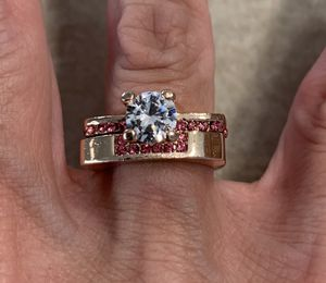 New CZ 2Pcs Rose Gold Color amethyst wedding ring Size 7 for Sale in HOFFMAN EST, IL