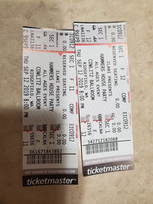 Tickets to Hammers House Party for Sale in Ridgefield, WA