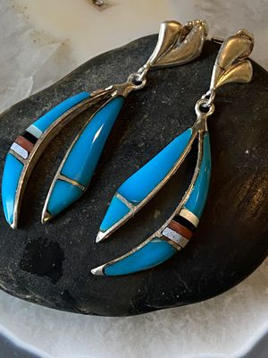 Sterling Silver Signed Zuni Inlay Pierced Earrings for Sale in Tampa, FL