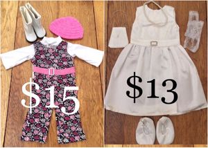 """Complete Outfits for 18"""" Dolls; American Girl, Journey, Battat etc. Queen's Treasure Brand New! Prices in Photo #1 for Sale in Las Vegas, NV"""