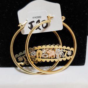 NEW WOMEN'S EARRINGS 3 TONE BRAZIL 18K GOLD LAYERED FINE JEWELRY for Sale in Roanoke, VA