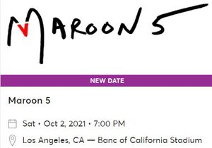 Maroon 5 Concert Tickets for Sale in Los Angeles, CA
