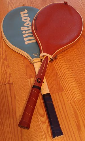 Pair Wilson and Spalding Youngstar wooden tennis rackets for Sale in New Britain, CT