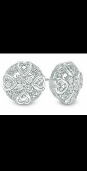 Brand New Genuine Diamond Accent Round Mini Hearts Earrings. for Sale in Mesa, AZ