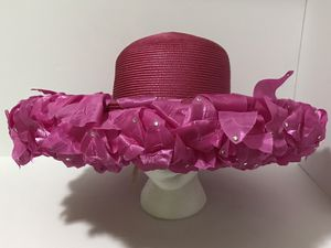 Women's fashion pink hat with petals, rhinestones & ornament, Eve Andrea. for Sale in Jordan, MN