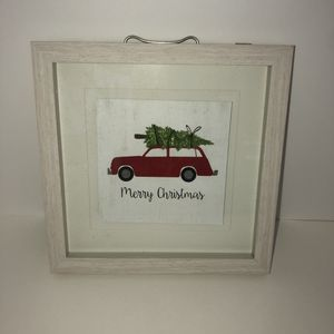 "New red wagon Christmas tree glass framed picture wall decoration 10""x10""x1"" for Sale in Saint Albans, WV"