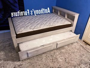 Full bed & twin trundle + 2 mattresses for Sale in Huntington Park, CA