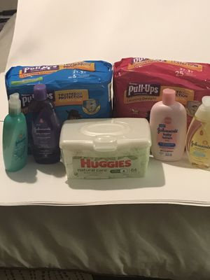 Pull up the boys and girls 2T3T shampoo Detangler baby lotion and body wash Head to toe and Huggies baby wipes for Sale in San Antonio, TX