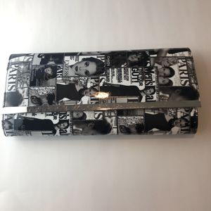 Rare Vintage Clutch Fashion Black & White Purse Color Cover Pages Silver Trim for Sale in New Market, MD