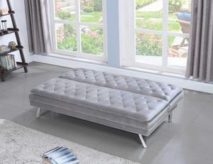 GLAM Button Tufted Upholstered Sofa FUTON SLEEPER BED Silver for Sale in Yorba Linda, CA