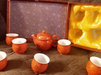8 Piece Ceramic Red Wedding Tea Gift Set for Sale in Lake Havasu City,  AZ