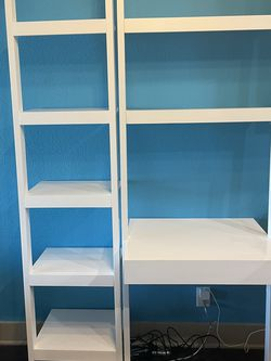 """Crate & Barrel Sawyer White Leaning Desk And 18"""" Bookshelf for Sale in Los Angeles,  CA"""