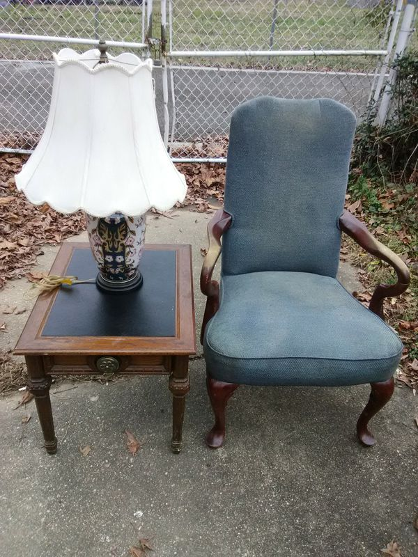 Antique lamp with shade plus table and chair