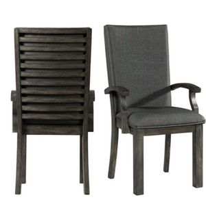 set of 2 beautiful wooden dinner chairs: Picket Dark Walnut Arm Chairs for Sale in Dallas, TX