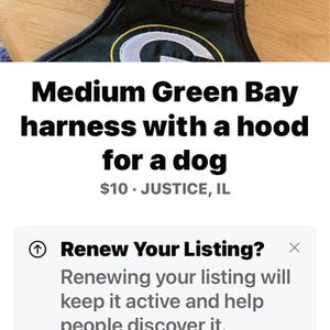 Green Bay for dog harness medium for Sale in Palos Hills, IL
