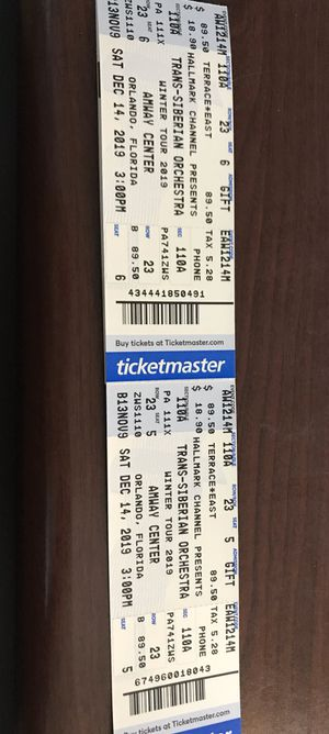 Tickets to trans siberian orchestra for Sale in Winter Haven, FL