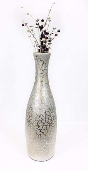Silver vase home decor for living room bedroom decor for Sale in Seattle, WA