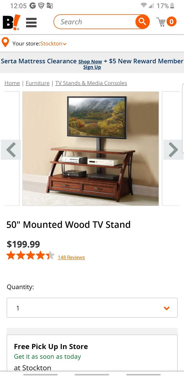"""50"""" Mounted Wood TV Stand"""