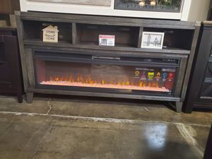 Dark Gray Large TV Stand w/Fireplace Option for Sale in Santa Ana, CA