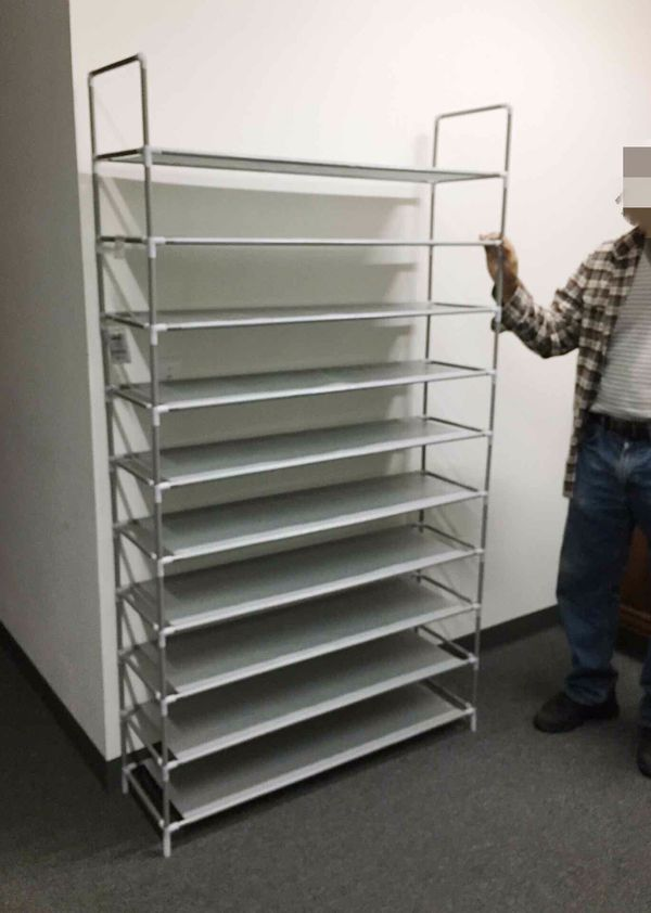 New in box 50 pairs 10 tiers 40x12x69 inches tall shoe rack shelf storage organizer NOTE alot of assembly required