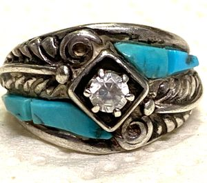 Size 7 Navajo sterling turquoise and CZ ring for Sale in Ponte Vedra Beach, FL