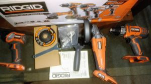 Ridgid Drill, Light and Angle Grinder 18 volts for Sale in Kissimmee, FL