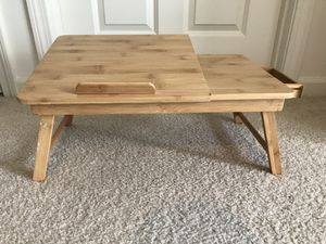 Laptop Desk Nnewvante Table Adjustable 100% Bamboo Foldable Breakfast Serving Bed Tray w' Tilting Top Drawer for Sale in Natick, MA