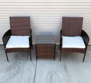 "(NEW) $130 Small 3pcs Wicker Ratten Patio Outdoor Furniture Set (Seat size 19x19"") Assembly Required for Sale in South El Monte, CA"