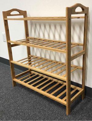 Brand new in box 4 Tier Bamboo Shoe Shelf Storage Organizer 27x11x30 inches for Sale in Whittier, CA