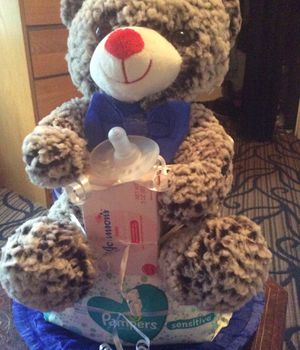 New Teddy Bear Diaper Cake for a Boy for Sale in Rochester, NY