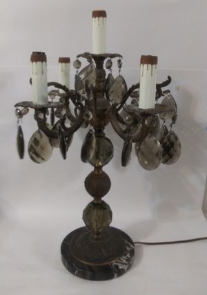 Antique candelabra 5 lights brass lamp electric for Sale in Miami Beach, FL